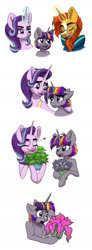 Size: 700x1905 | Tagged: safe, artist:celestial-rainstorm, phyllis, starlight glimmer, sunburst, oc, oc:dawn star, pony, unicorn, female, filly, magic, male, offspring, older, parent:stygian, parent:twilight sparkle, parents:twigian, shipping, simple background, starburst, straight, white background