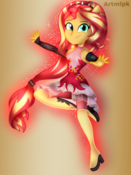 Size: 1536x2048 | Tagged: safe, artist:artmlpk, sunset shimmer, equestria girls, equestria girls series, forgotten friendship, spoiler:eqg series, action pose, adorable face, beautiful, boots, clothes, cute, dress, grin, hero, looking at you, outfit, ponied up, pose, shimmerbetes, shoes, smiling, smiling at you, solo, super ponied up, superhero, thigh boots, woman