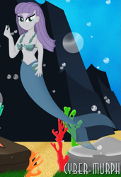 Size: 1785x2610 | Tagged: safe, artist:cyber-murph, boulder (pet), maud pie, mermaid, equestria girls, belly, belly button, bikini, clothes, coral, cute, eyeshadow, makeup, mermaidized, midriff, seaweed, species swap, swimsuit, underwater