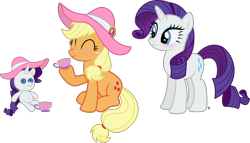 Size: 4488x2567 | Tagged: safe, artist:anime-equestria, applejack, rarity, earth pony, pony, unicorn, blushing, cup, cute, duo, female, food, happy, hat, jackabetes, lesbian, plushie, raribetes, rarijack, rarity plushie, shipping, simple background, smiling, tea, tea party, teacup, transparent background, vector