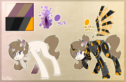 Size: 2362x1534 | Tagged: safe, artist:lampiel, oc, oc only, oc:solar shine (ice1517), pony, unicorn, armor, artificial wings, augmented, brown background, female, glowing horn, horn, mare, power armor, raised hoof, reference sheet, scar, simple background, solo, wings