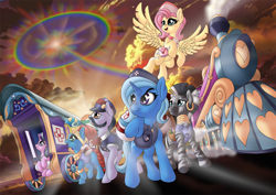 Size: 1414x1000 | Tagged: safe, artist:manifest harmony, all aboard, fluttershy, meadowbrook, starlight glimmer, trixie, zecora, earth pony, pegasus, pony, unicorn, zebra, series:save the world, bag, coronavirus, friendship express, healer's mask, heart eyes, heart nostrils, mask, saddle bag, sonic rainboom, train, trixie's wagon, wingding eyes