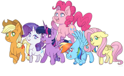 Size: 6500x4000 | Tagged: safe, artist:cassarts001, applejack, fluttershy, pinkie pie, rainbow dash, rarity, twilight sparkle, alicorn, earth pony, pegasus, pony, unicorn, absurd resolution, colored hooves, cute, ear fluff, female, floppy ears, folded wings, jumping, looking at you, mane six, mare, midair, open mouth, raised hoof, simple background, smiling, spread wings, standing, three quarter view, transparent background, twilight sparkle (alicorn), wings