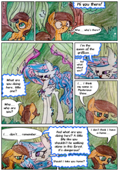 Size: 1450x2080 | Tagged: safe, artist:mysteriousshine, earth pony, hippogriff, pony, comic:the children of the night, comic, dialogue, ethereal mane, female, forest, mare, starry mane, surprised, traditional art