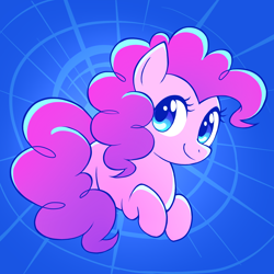 Size: 1600x1600 | Tagged: safe, artist:siggie740, pinkie pie, earth pony, pony, blue background, cute, diapinkes, female, mare, prone, simple background, solo