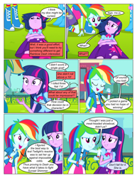 Size: 612x792 | Tagged: safe, artist:greatdinn, artist:newbiespud, edit, edited screencap, screencap, rainbow dash, twilight sparkle, comic:friendship is dragons, equestria girls, equestria girls (movie), clothes, collaboration, comic, cutie mark, cutie mark on clothes, dialogue, eyes closed, female, grin, screencap comic, smiling