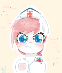 Size: 3000x3500 | Tagged: safe, derpibooru exclusive, nurse redheart, earth pony, pony, blushing, bust, colored pupils, cute, dialogue, ear fluff, eyelashes, heart, heart hoof, looking at you, solo