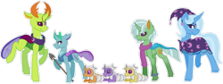Size: 1024x387 | Tagged: safe, artist:king-justin, thorax, trixie, oc, oc:humerus, oc:marrow, oc:osteoclasts, oc:rickets, oc:white blood, changedling, changeling, changepony, hybrid, clothes, family, female, interspecies offspring, king thorax, male, offspring, parent:thorax, parent:trixie, parents:thoraxie, scarf, shipping, simple background, spear, straight, thoraxie, transparent background, weapon