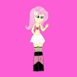 Size: 1280x1280 | Tagged: safe, artist:jazzytyfighter, fluttershy, equestria girls, belly button, blushing, clothes, female, fishnets, midriff, outfit, pink background, rave, simple background, skirt, solo
