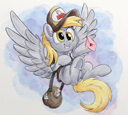 Size: 3840x3479 | Tagged: safe, artist:pirill, derpy hooves, pegasus, pony, cheek fluff, clothes, cute, derpabetes, ear fluff, envelope, female, flying, hat, high res, mailbag, mailmare, mailmare hat, mare, package, smiling, solo, wings