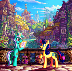 Size: 3552x3508 | Tagged: safe, artist:jowybean, bon bon, derpy hooves, lyra heartstrings, sweetie drops, bird, earth pony, pony, swan, unicorn, basket, bridge, carousel boutique, cloud, color porn, cute, detailed, duo, female, flower, high res, house, magic, mare, mountain, mountain range, open mouth, paper, pencil, ponyville, ponyville town hall, profile, river, scenery, scenery porn, sky, telekinesis, town hall, tree, twilight's castle