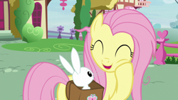 Size: 1920x1080   Tagged: safe, screencap, angel bunny, fluttershy, she talks to angel, spoiler:s09e18, cute, shyabetes