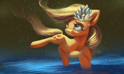 Size: 4719x2836 | Tagged: safe, artist:auroriia, applejack, earth pony, pony, cute, dock, female, flower, flower in hair, hatless, high res, jackabetes, mare, missing accessory, rain, solo