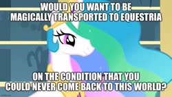 Size: 889x500 | Tagged: safe, edit, edited screencap, screencap, princess celestia, alicorn, a bird in the hoof, caption, female, image macro, jewelry, mare, meme, regalia, solo, text