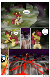 Size: 1300x2000 | Tagged: safe, artist:smudge proof, derpy hooves, sunny delivery, changeling, pegasus, pony, borg, comic, fog, forest, laser sight, night, patreon, star trek: first contact