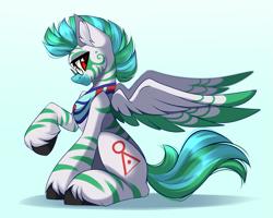 Size: 4165x3333 | Tagged: safe, artist:airiniblock, oc, oc only, oc:kilani, pegasus, pony, zebra, zebrasus, glasses, male, sitting, solo, stallion, wings, zebra oc