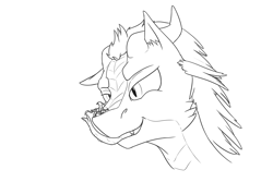 Size: 1851x1234 | Tagged: safe, artist:theandymac, oc, oc only, oc:der, oc:hunting forest, dracony, dragon, griffon, hybrid, pony, black and white, drool, grayscale, horns, licking, licking lips, micro, monochrome, tongue out