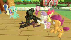 Size: 1280x720 | Tagged: safe, artist:dragonsam98, apple bloom, bon bon, cheerilee, lyra heartstrings, scootaloo, sweetie belle, sweetie drops, demon, earth pony, human, pegasus, unicorn, 3d, badass, cheerilee is unamused, doom, doomguy, facehoof, female, filly, fist bump, floppy ears, gun, imp (doom), irrational exuberance, mare, ponyville schoolhouse, scared, shotgun, show and tell, shrunken pupils, smiling, source filmmaker, weapon