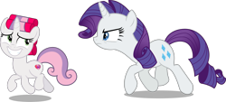 Size: 5144x2331 | Tagged: safe, artist:chrzanek97, artist:claritea, artist:kooner-cz, artist:reginault, edit, editor:slayerbvc, vector edit, rarity, sweetie belle, pony, unicorn, angry, chase, female, filly, furious, grin, hair curlers, looking back, mare, nervous, nervous grin, rarity is not amused, sheepish grin, siblings, simple background, sisters, smiling, transparent background, unamused, vector
