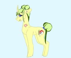 Size: 1024x844   Tagged: safe, artist:hawklesscorruption, oc, oc:medaille d'or, pony, unicorn, ear piercing, earring, female, hair bun, jewelry, magical gay spawn, mare, offspring, parent:big macintosh, parent:rockhoof, parents:rockmac, piercing, scar, solo, tail bun