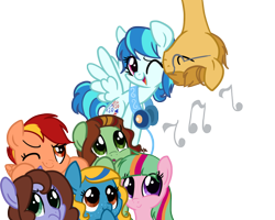 Size: 1080x864 | Tagged: safe, artist:zoidledoidle, oc, oc only, pegasus, pony, happy, headphones, music, music notes, simple background, smiling, transparent background