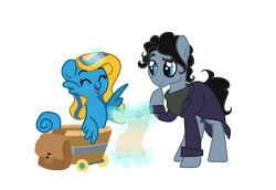 Size: 1152x792 | Tagged: safe, artist:zoidledoidle, oc, earth pony, pony, sea pony, bag, bucket, crossover, happy, magic, ponified, saddle bag, scroll, sherlock, sherlock holmes, simple background, smiling, transparent background