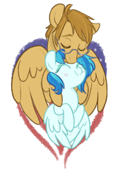 Size: 648x864 | Tagged: safe, artist:zoidledoidle, oc, oc only, pegasus, pony, cuddling, female, glasses, happy, male, simple background, smiling, straight, transparent background