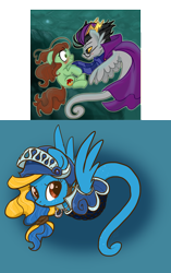 Size: 1440x2296 | Tagged: safe, artist:zoidledoidle, oc, earth pony, pegasus, pony, sea pony, angry, homestuck, scrunchy face, shell