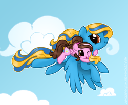 Size: 1584x1296 | Tagged: safe, artist:zoidledoidle, oc, oc only, pegasus, pony, cloud, female, filly, flying, happy, ponies riding ponies, riding, smiling