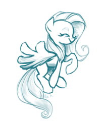 Size: 1152x1440 | Tagged: safe, artist:zoidledoidle, fluttershy, bee, insect, pegasus, pony, happy, monochrome, sketch, smiling, solo