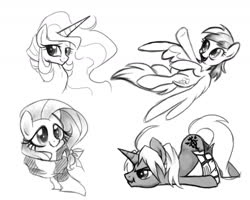 Size: 1800x1440 | Tagged: safe, artist:zoidledoidle, fluttershy, princess celestia, rainbow dash, oc, alicorn, pegasus, pony, black and white, clothes, flying, grayscale, monochrome, scarf, scrunchy face, sketch, smiling
