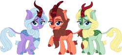 Size: 3307x1500 | Tagged: safe, artist:cloudyglow, dear darling, fond feather, swoon song, kirin, bimbettes, female, kirin-ified, lidded eyes, looking at you, raised hoof, simple background, smiling, smiling at you, solo, species swap, transparent background