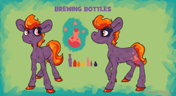 Size: 2048x1121 | Tagged: safe, artist:lilsunshinesam, oc, oc only, oc:brewing bottles, earth pony, pony, solo