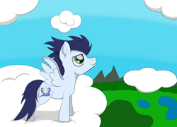 Size: 2000x1443 | Tagged: safe, artist:augjodo, soarin', pony, digital art, male, sky, stallion