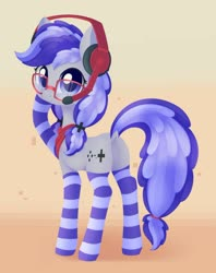 Size: 1024x1295 | Tagged: safe, artist:dusthiel, oc, oc only, oc:cinnabyte, earth pony, pony, bandana, blue eyes, butt, chest fluff, cinnabetes, clothes, cute, dock, dork, earth pony oc, female, gaming headset, glasses, headphones, headset, looking at you, looking back, looking back at you, mare, pigtails, plot, rear view, socks, solo, striped socks