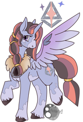 Size: 1280x1879 | Tagged: safe, artist:technowriter15, oc, oc only, alicorn, pony, coat markings, cutie mark, female, mare, offspring, parent:rockhoof, parent:twilight sparkle, parents:rocklight, simple background, solo, spread wings, transparent background, unshorn fetlocks, wings