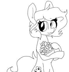 Size: 1008x1060 | Tagged: safe, artist:nootaz, oc, oc:lucky charm, earth pony, bouquet, earth pony oc, female, flower, solo, solo female