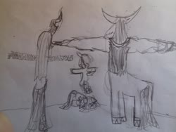 Size: 3264x2448 | Tagged: artist needed, safe, cozy glow, lord tirek, queen chrysalis, twilight sparkle, asserting dominance, meme, t pose, traditional art
