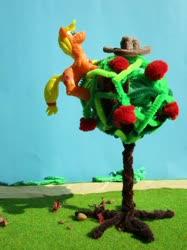 Size: 1024x1366   Tagged: safe, alternate version, artist:malte279, applejack, apple, apple tree, climbing, craft, food, hat, sculpture, starch foam, tree