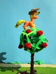 Size: 774x1033 | Tagged: safe, alternate version, artist:malte279, applejack, apple, apple tree, climbing, craft, food, hat, sculpture, starch foam, tree