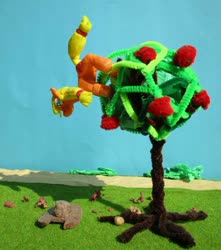 Size: 840x951   Tagged: safe, alternate version, artist:malte279, applejack, apple, apple tree, climbing, craft, food, hat, sculpture, starch foam, tree