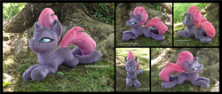 Size: 4133x1754 | Tagged: safe, artist:peruserofpieces, tempest shadow, pony, unicorn, beanie (plushie), female, looking at you, mare, narrowed eyes, photo, plushie, prone, scowl, solo, tree