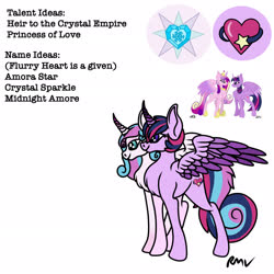 Size: 2048x2048 | Tagged: safe, artist:rmv-art, princess cadance, princess flurry heart, twilight sparkle, alicorn, pony, conjoined, conjoined twins, female, lesbian, magical lesbian spawn, offspring, parent:princess cadance, parent:twilight sparkle, parents:twidance, shipping, twidance, twilight sparkle (alicorn)