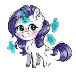 Size: 1299x1264 | Tagged: safe, artist:lightisanasshole, rarity, pony, unicorn, blushing, cheek fluff, chest fluff, chibi, colored hooves, curved horn, ear fluff, ear piercing, earring, eyeshadow, horn, jewelry, levitation, magic, makeup, piercing, redesign, simple background, solo, sticker, telekinesis, transparent background