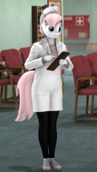 Size: 1080x1920 | Tagged: safe, artist:spinostud, nurse redheart, anthro, earth pony, 3d, clipboard, clothes, female, hat, hospital, mare, nurse, nurse hat, solo, source filmmaker