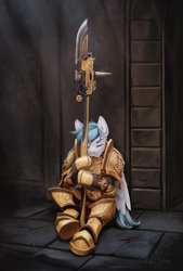 Size: 2000x2960 | Tagged: safe, artist:inowiseei, oc, oc only, anthro, unguligrade anthro, adeptus custodes, armor, crossover, eyes closed, guard, guardian spear, high res, male, power armor, sleeping, sleeping on the job, solo, video game crossover, warhammer (game), warhammer 40k, weapon