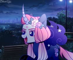 Size: 1920x1575 | Tagged: safe, artist:dianamur, oc, pony, unicorn, curved horn, female, horn, mare, night, solo