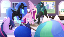 Size: 7000x4000 | Tagged: safe, artist:kids-in-the-corner, artist:those kids in the corner, nightmare moon, princess cadance, princess celestia, princess luna, queen chrysalis, twilight sparkle, alicorn, changeling, changeling queen, absurd resolution, angry, annoyed, canterlot, clothes, confused, cup, female, flower, rug, smiling, socks, table, teacup, twilight sparkle (alicorn), wallpaper