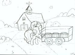 Size: 3348x2484 | Tagged: safe, artist:lightisanasshole, oc, oc:radler, bird, earth pony, pony, apple, apple tree, barn, barrel, bush, cloud, door, flower, flower in hair, grass, hill, lineart, looking back, monochrome, mountain, raised hoof, road, roof, solo, standing, traditional art, tree, wagon, window