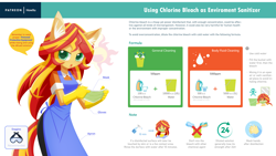Size: 2560x1440 | Tagged: safe, artist:howxu, sunset shimmer, anthro, apron, bleach, chlorine, clothes, cutie mark, facemask, female, gloves, instructions, rubber gloves, solo, speech bubble